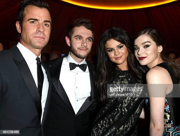 ActorJustin Theroux producer/DJ Zedd recording artist/actress Selena Gomez and actress Hailee Steinfeld attend the 2015 Vanity Fair Oscar Party...