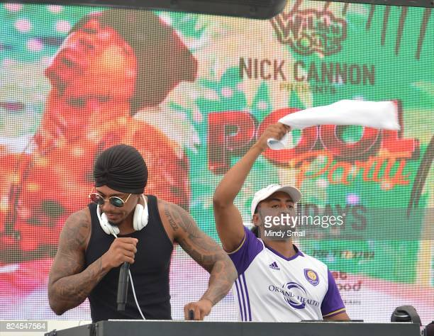 Actor/media personality Nick Cannon DJ's during the World Wildest Pool Party series at Planet Hollywood Resort Casino on July 30 2017 in Las Vegas...