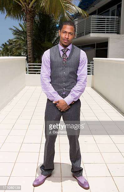 Actor/media personality Nick Cannon poses during the 2013 American Black Film Festival on June 21 2013 in Miami Florida