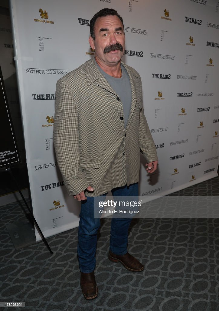 Actor/MMA fighter Don Frye arrives to the premiere of Sony Pictures Classics' 'The Raid 2' at Harmony Gold Theatre on March 12, 2014 in Los Angeles, California.