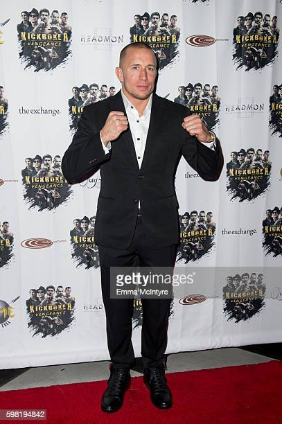 Actor/MMA Georges StPierre arrives at the premiere of RLJ Entertainment's 'Kickboxer Vengeance' at iPic Theaters on August 31 2016 in Los Angeles...