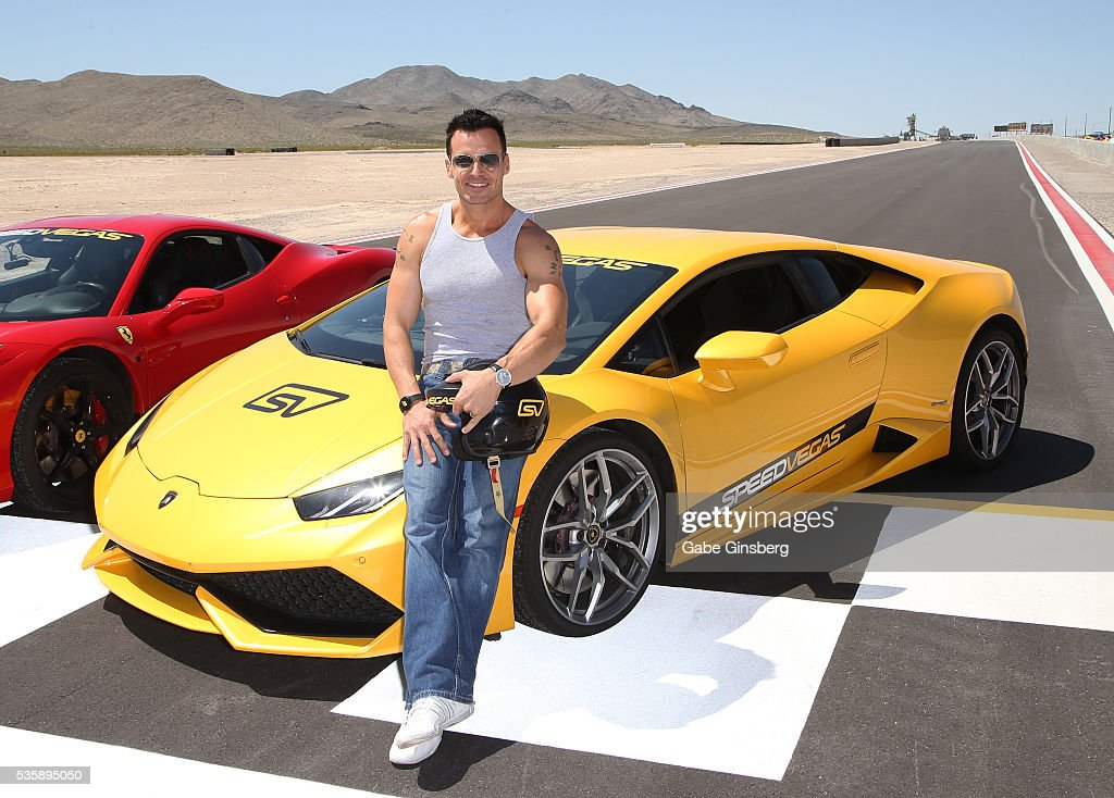 Actor/model <a gi-track='captionPersonalityLinkClicked' href=/galleries/search?phrase=Antonio+Sabato+Jr.&family=editorial&specificpeople=211332 ng-click='$event.stopPropagation()'>Antonio Sabato Jr.</a> poses with a 2013 Ferrari 458 Italia and a 2015 Lamborghini Huracan at the SpeedVegas motorsports complex on May 30, 2016 in Las Vegas, Nevada.