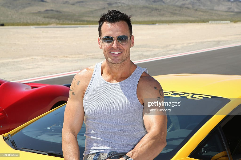 Actor/model <a gi-track='captionPersonalityLinkClicked' href=/galleries/search?phrase=Antonio+Sabato+Jr.&family=editorial&specificpeople=211332 ng-click='$event.stopPropagation()'>Antonio Sabato Jr.</a> poses with a 2015 Lamborghini Huracan at the SpeedVegas motorsports complex on May 30, 2016 in Las Vegas, Nevada.