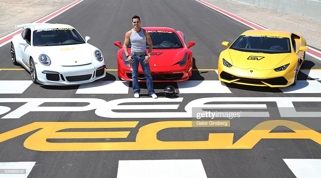 Actor/model <a gi-track='captionPersonalityLinkClicked' href=/galleries/search?phrase=Antonio+Sabato+Jr.&family=editorial&specificpeople=211332 ng-click='$event.stopPropagation()'>Antonio Sabato Jr.</a> poses with a 2015 Porsche 911 GT3, a 2013 Ferrari 458 Italia and a 2015 Lamborghini Huracan at the SpeedVegas motorsports complex on May 30, 2016 in Las Vegas, Nevada.