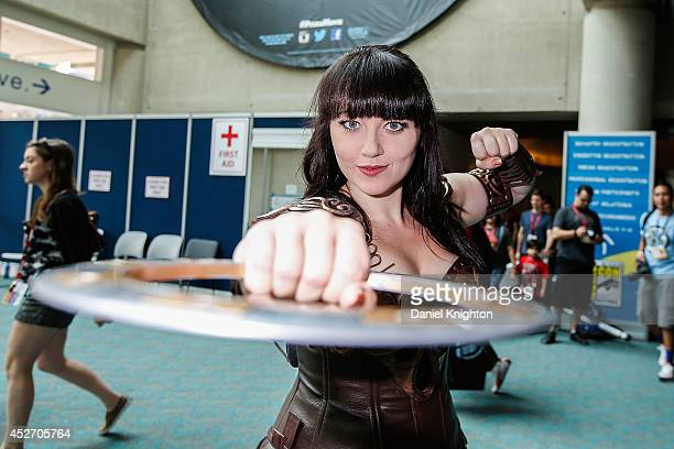 Actor/model Bernadette Bentley dressing as Xena Warrior Princess attends ComicCon International at San Diego Convention Center on July 25 2014 in San...