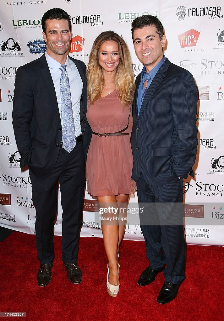 Actor/model Dustin Moss, Katarina Van Derham and Bill Bakho founder/CEO of Fenix Cosmetics arrive at the 40th Anniversary StockCross Party on July 25, 2013 in Beverly Hills, California.