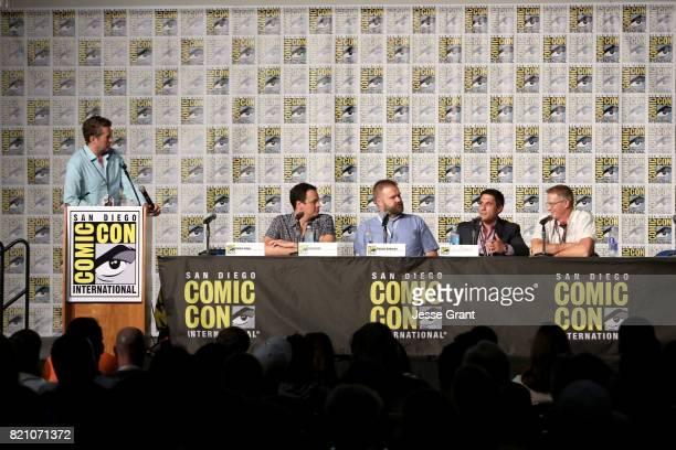 Actor/moderator Scott Aukerman producer David Alpert comic book writer Robert Kirkman filmmaker Rory Karpf and filmmaker Daniel Junge onstage during...