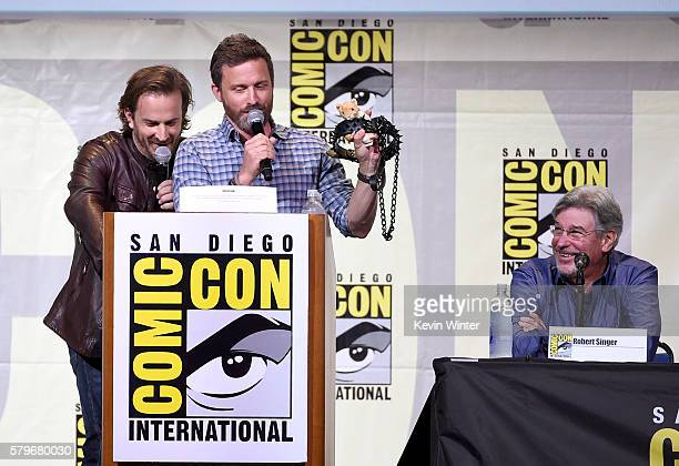 Actor/moderators Richard Speight Jr and Rob Benedict and producer/director Robert Singer attend the 'Supernatural' Special Video Presentation And QA...
