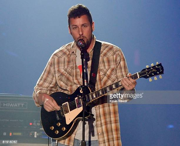 Actor/musician Adam Sandler performs onstage during the 3rd Annual VH1 Rock Honors at UCLA's Pauley Pavillion on July 12 2008 in Los Angeles...
