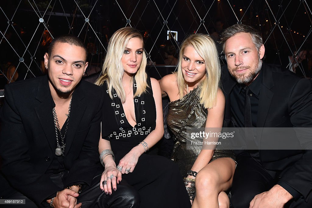 Actor/Musician Evan Ross singer Ashlee Simpson Jessica Simpson and Eric Johnson attend the after party the Premiere Of Lionsgate's 'The Hunger Games...