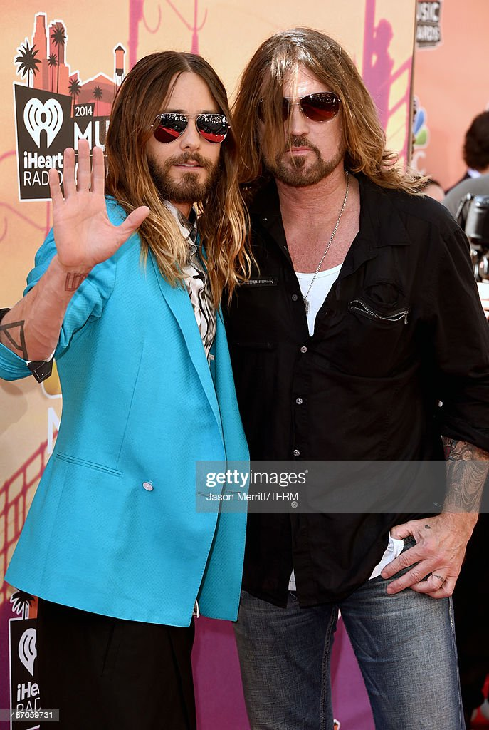 Actor/musician Jared Leto (L) and musician Billy Ray Cyrus attend the 2014 iHeartRadio Music Awards held at The Shrine Auditorium on May 1, 2014 in Los Angeles, California. iHeartRadio Music Awards are being broadcast live on NBC.