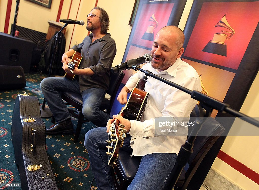 Actor/musician <a gi-track='captionPersonalityLinkClicked' href=/galleries/search?phrase=John+Corbett&family=editorial&specificpeople=221714 ng-click='$event.stopPropagation()'>John Corbett</a> (L) and Grammy-winning/songwriter/producer J.R. Stewart perform at a musical briefing and Welcome Back to Congress Event presented by The Recording Academy's 'Grammys on the Hill' at U.S. House of Representatives on January 16, 2013 in Washington, DC.