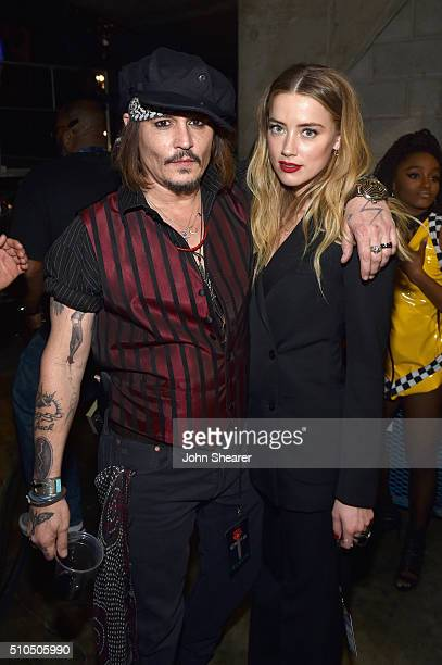 Actor/musician Johnny Depp and actress Amber Heard attend The 58th GRAMMY Awards at Staples Center on February 15 2016 in Los Angeles California