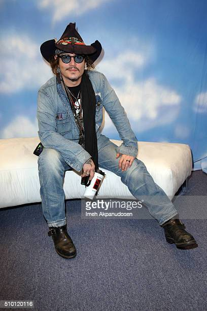 Actor/musician Johnny Depp attends the GRAMMY Gift Lounge during The 58th GRAMMY Awards at Staples Center on February 13 2016 in Los Angeles...