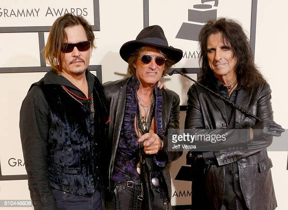 Actor/musician Johnny Depp musicians Joe Perry and Alice Cooper of Hollywood Vampires attend The 58th GRAMMY Awards at Staples Center on February 15...