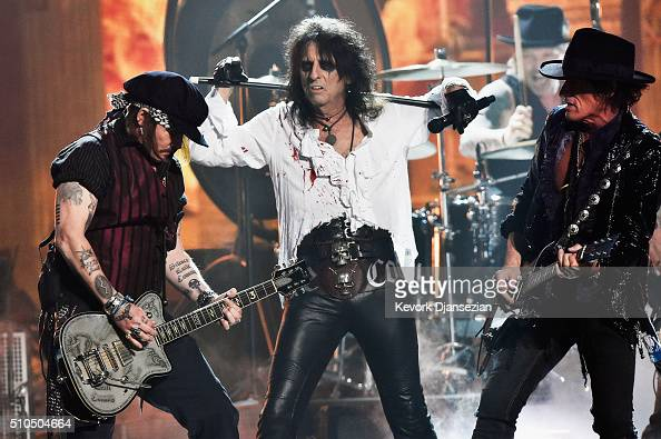 Actor/musician Johnny Depp singer Alice Cooper and musician Joe Perry of Hollywood Vampires perform onstage during The 58th GRAMMY Awards at Staples...
