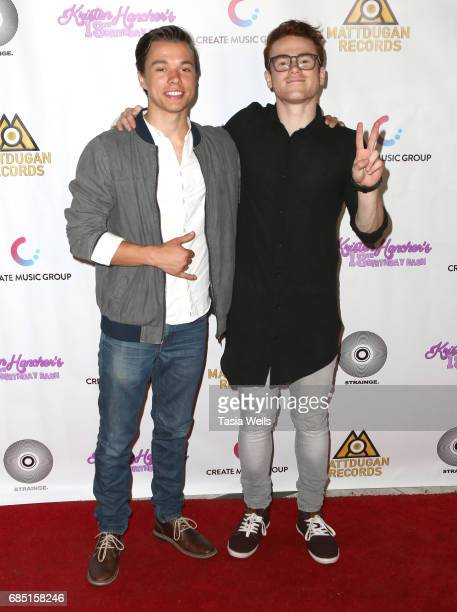 Actor/musician Justin Tinnuci and actor Colton Shires attend social media star Kristen Hancher's Big 18th Birthday Bash at Bootsy Bellows on May 18...