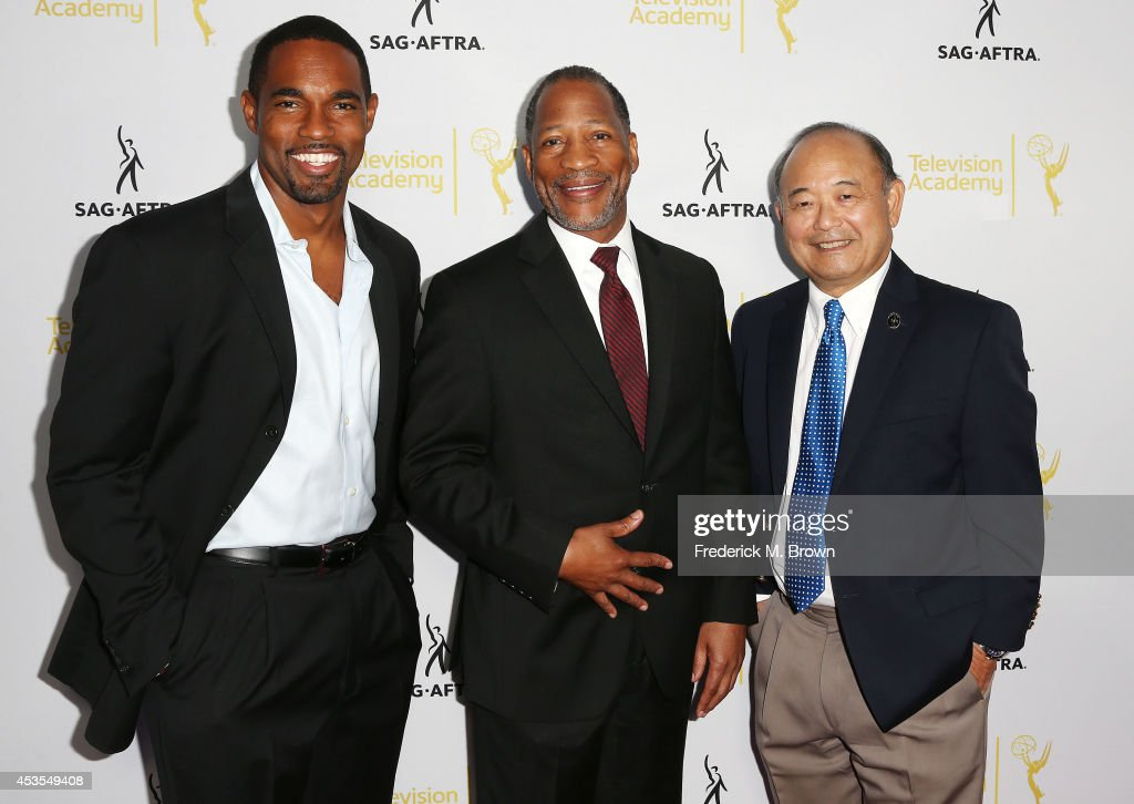 Actor/National Board Member Jason George, Mathis Dunn, Associate National Executive Director, and Clyde Kusatsu, Vice President, Los Angeles, attend the Television Academy and SAG-AFTRA Presents Dynamic & Diverse: A 66th Emmy Awards Celebration of Diversity at the Leonard H. Goldenson Theatre on August 12, 2014 in North Hollywood, California.