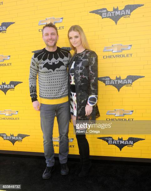 Actor/personality Chris Hardwick and wife/actress Lydia Hearst arrive for the Premiere Of Warner Bros Pictures' 'The LEGO Batman Movie' held at...