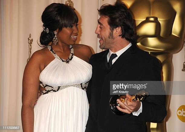 Actorpresenter Jennifer Hudson and actor Javier Bardem pose in the press room during the 80th Annual Academy Awards at the Kodak Theatre on February...