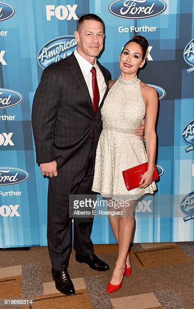 Actor/pro wrestler John Cena and professional wrestler Nikki Bella attend FOX's 'American Idol' Finale For The Farewell Season at Dolby Theatre on...