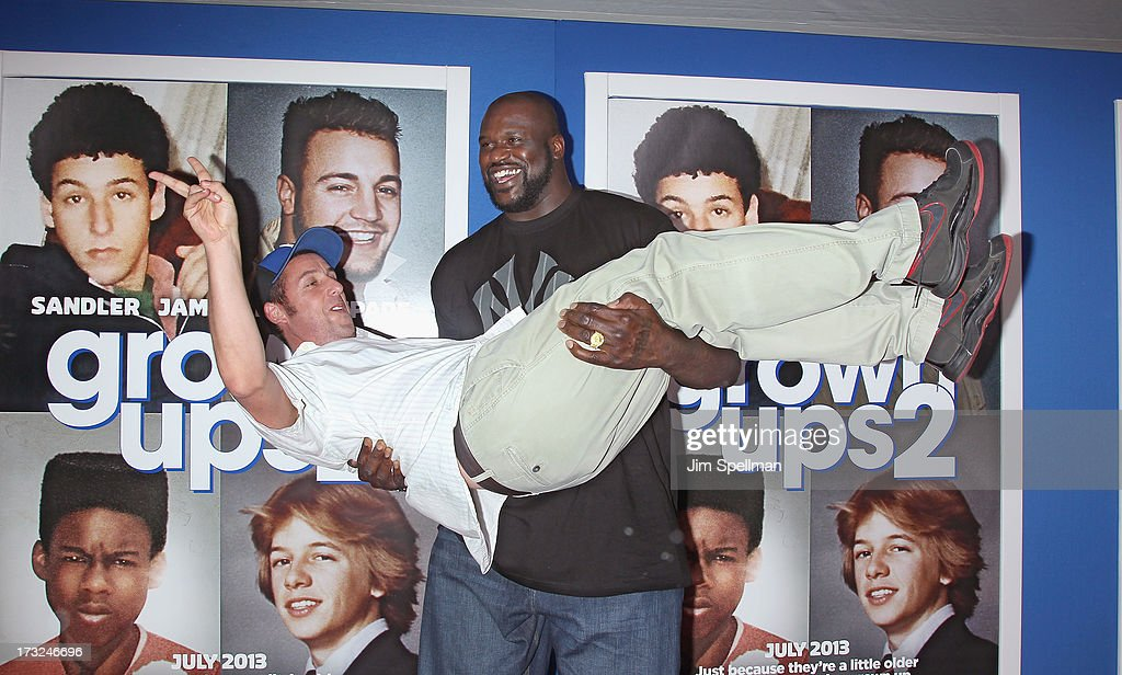 Actor/producer Adam Sandler and basketball player Shaquille O'Neal attend the 'Grown Ups 2' New York Premiere at AMC Lincoln Square Theater on July 10, 2013 in New York City.