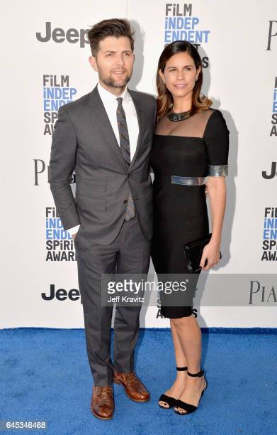 Actor/producer Adam Scott and producer Naomi Scott attend the 2017 Film Independent Spirit Awards at the Santa Monica Pier on February 25 2017 in...