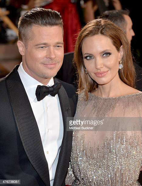 Actor/producer Brad Pitt and actress Angelina Jolie attend the Oscars held at Hollywood Highland Center on March 2 2014 in Hollywood California