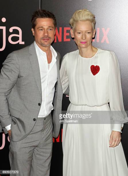 Actor/producer Brad Pitt and actress Tilda Swinton attend the New York premiere of 'Okja' hosted by Netflix at AMC Lincoln Square Theater on June 8...