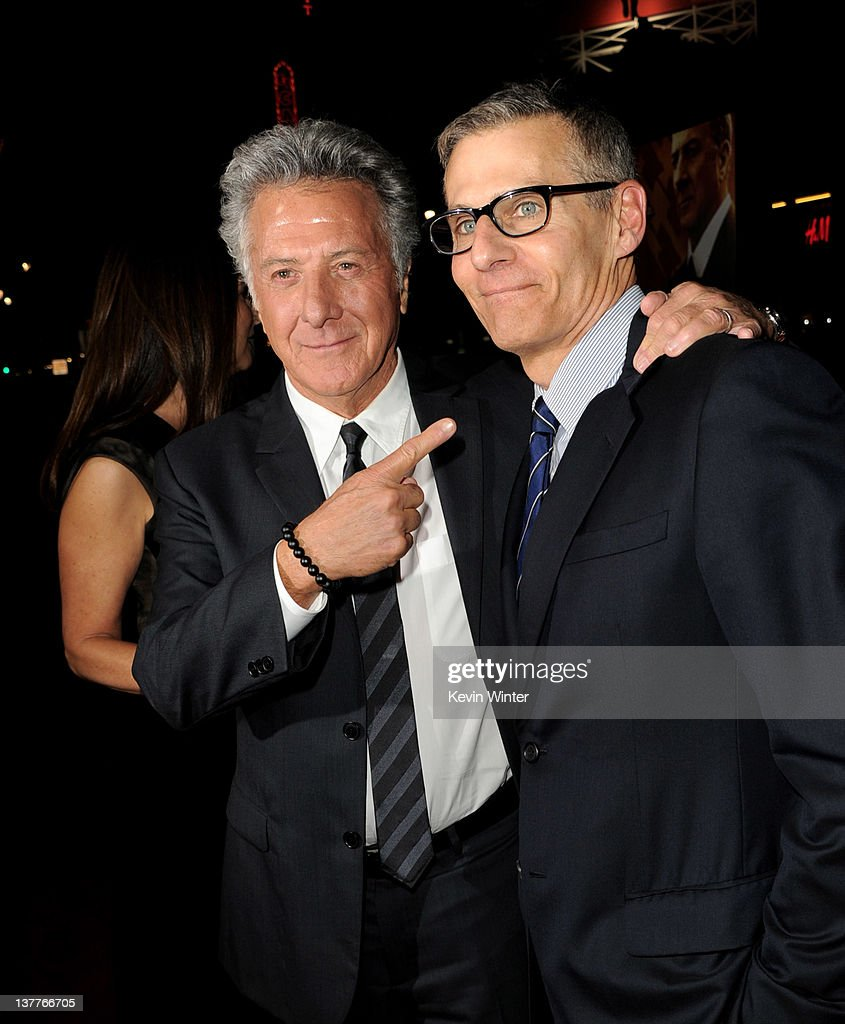 Actor/producer <a gi-track='captionPersonalityLinkClicked' href=/galleries/search?phrase=Dustin+Hoffman&family=editorial&specificpeople=171356 ng-click='$event.stopPropagation()'>Dustin Hoffman</a> (L) and Michael Lombardo, President, Programming and West Coast Ops, HBO arrive at the premiere of HBO's 'Luck' at the Chinese Theater on January 25, 2012 in Los Angeles, California.