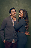 Actor/producer Eli Roth and actress Lorenza Izzo from 'Knock Knock' pose for a portrait at the Village at the Lift Presented by McDonald's McCafe...