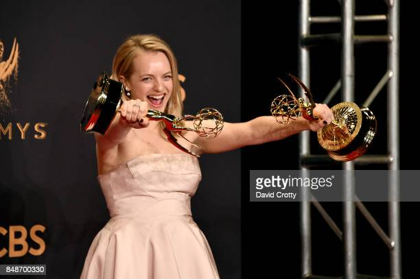 Actorproducer Elisabeth Moss winner of the awards for Outstanding Lead Actress in a Drama Series for 'The Handmaid's Tale' and Outstanding Drama...