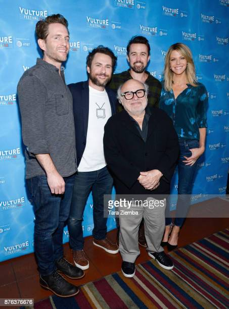 Actor/producer Glenn Howerton actors Charlie Day Danny DeVito actor/producer Rob McElhenney and actress Kaitlin Olson attend It's Always Sunny panel...