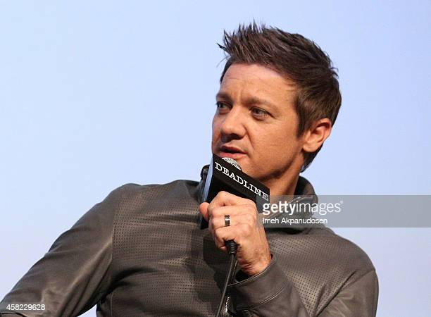 Actor/Producer Jeremy Renner speaks onstage during Deadline's The Contenders at DGA Theater on November 1 2014 in Los Angeles California
