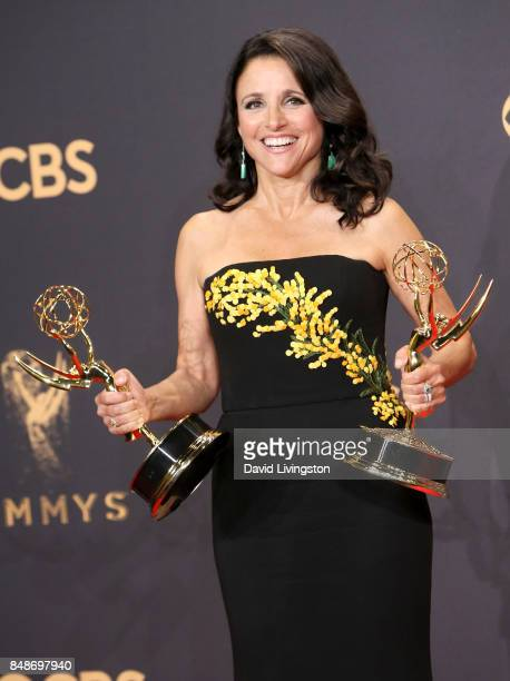 Actor/producer Julia LouisDreyfus winner of the awards for Outstanding Comedy Series and Outstanding Lead Actress in a Comedy Series for 'Veep' poses...