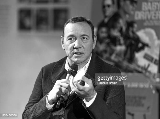 Actor/producer Kevin Spacey speaks on stage at Cars Arts Beats A Night Out With Baby Driver at the Petersen Automotive Museum on October 4 2017 in...