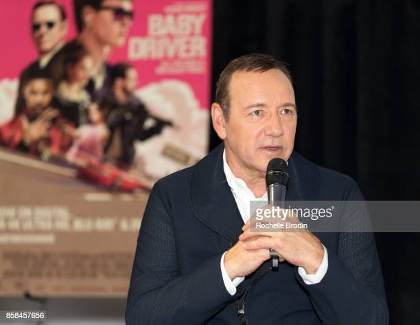 Actor/producer Kevin Spacey speaks on stage at the Cars Arts Beats A Night Out With 'Baby Driver' event at the Petersen Automotive Museum on October...