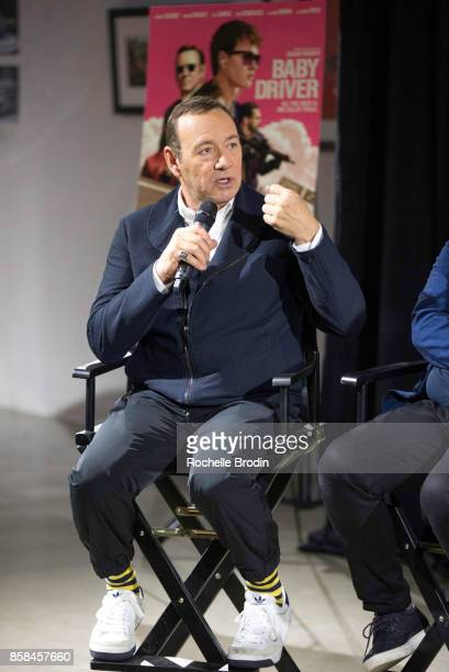 Actor/producer Kevin Spacey speaks on stage at the Cars Arts Beats A Night Out With 'Baby Driver' event at Petersen Automotive Museum on October 4...