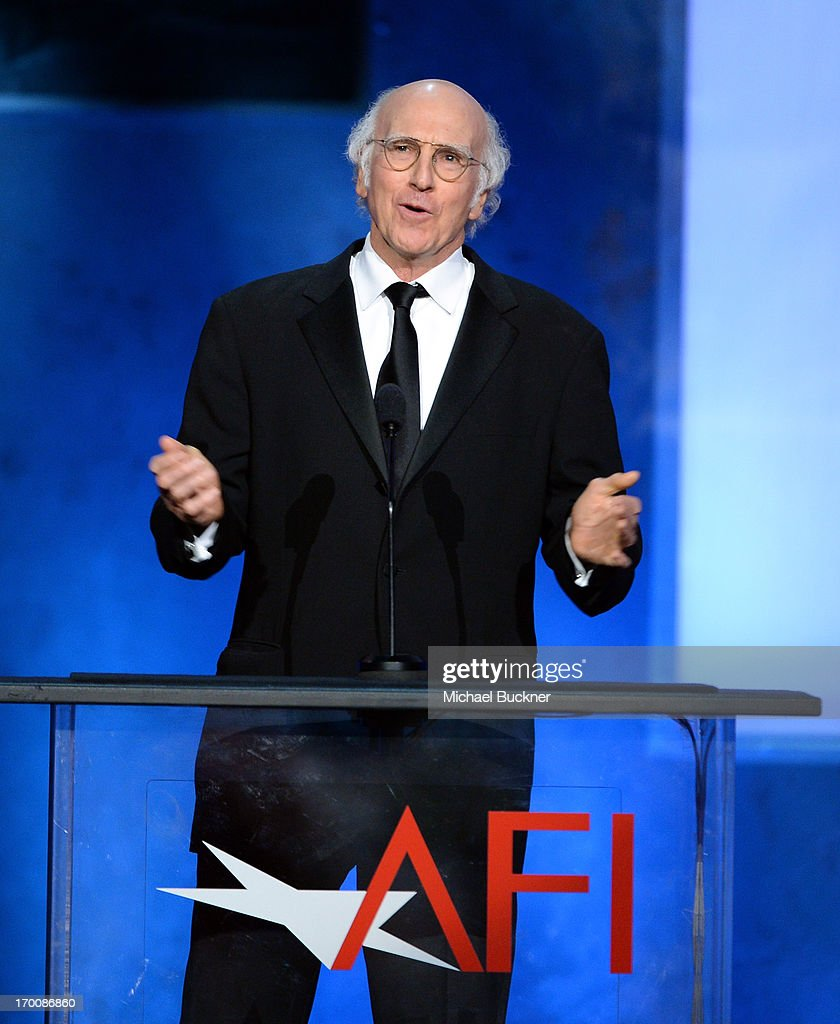 Actor/producer <a gi-track='captionPersonalityLinkClicked' href=/galleries/search?phrase=Larry+David&family=editorial&specificpeople=125184 ng-click='$event.stopPropagation()'>Larry David</a> speaks onstage during AFI's 41st Life Achievement Award Tribute to Mel Brooks at Dolby Theatre on June 6, 2013 in Hollywood, California. 23647_002_MB_2275.JPG