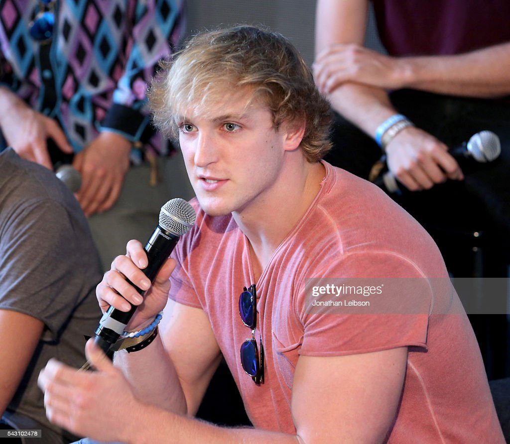Actor/producer Logan Paul speaks onstage during 'Airplane Mode' at the Samsung Creator's Lounge At VidCon 2016 on June 23, 2016 in Anaheim, California.