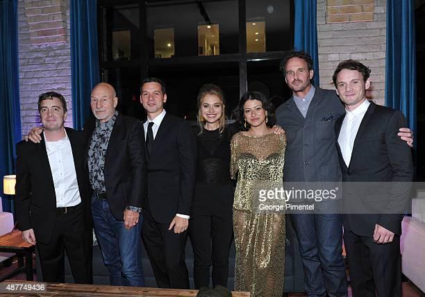 Actor/producer Macon Blair actors Patrick Stewart writer/director Jeremy Saulnier and actors Imogen Poots Alia Shawkat Kai Lennox and Anton Yelchin...