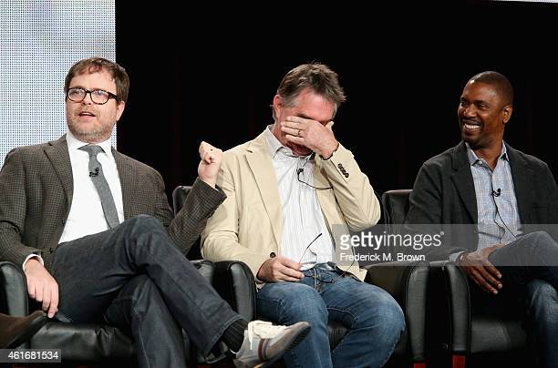 Actor/Producer Rainn Wilson Creator/Executive Producer Hart Hanson and Executive Producer Kevin Hooks speak onstage during the 'Backstrom' panel...