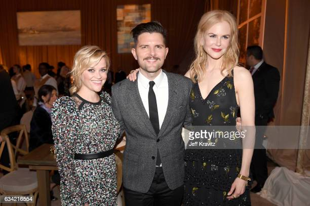 Actor/producer Reese Witherspoon actor Adam Scott and actor/producer Nicole Kidman attend the after party of HBO's 'Big Little Lies' at the Hollywood...