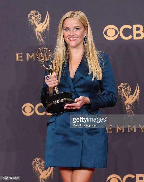 Actor/producer Reese Witherspoon winner of the award for Outstanding Limited Series for 'Big Little Lies' poses in the press room during the 69th...