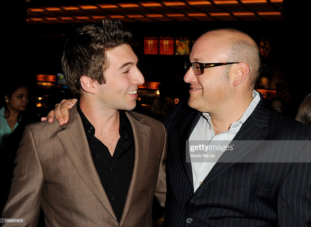 Actor/producer Roberto Aguire (L) and executive producer Glenn Rigberg arrive at a screening of Tribeca Film's 'Struck By Lightning' at the Chinese Cinema 6 Theaters on January 6, 2013 in Los Angeles, California.
