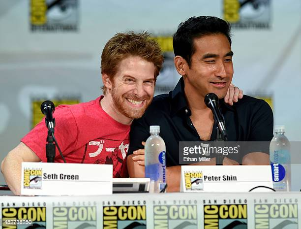 Actor/producer Seth Green and director/producer Peter Shin attend FOX's 'Family Guy' panel during ComicCon International 2014 at the San Diego...