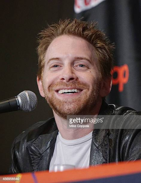 Actor/producer Seth Green speaks at the 'Vimeo Presents Stoopid Buddies Film School Live' panel during 2014 New York Comic Con Day 1 at Jacob Javitz...