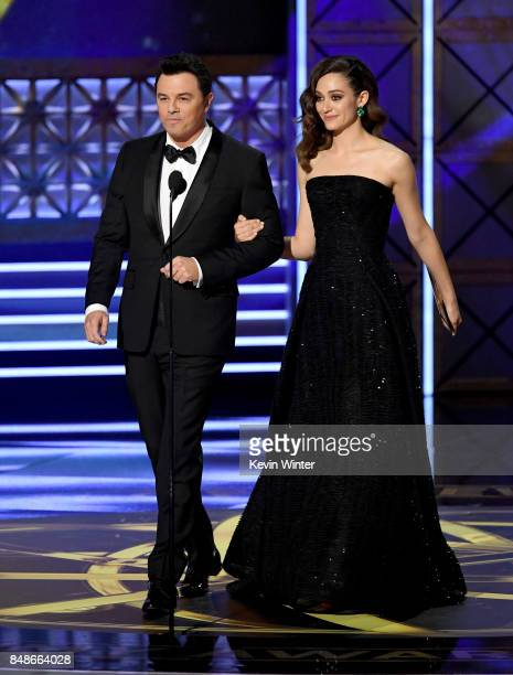 Actor/producer Seth MacFarlane and actor Emmy Rossum speak onstage during the 69th Annual Primetime Emmy Awards at Microsoft Theater on September 17...