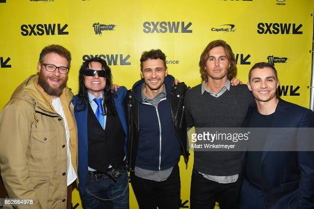 Actor/producer Seth Rogen director Tommy Wiseau actor/director James Franco author Greg Sestero and actor Dave Franco attend the 'The Disaster...