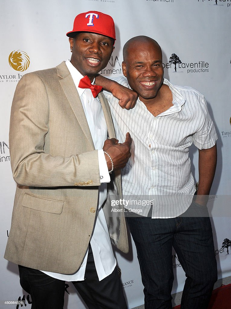 Actor/producer Sheldon Robins and director Michael Phillip Edwards arrive for the Premiere Of Upper Laventille's'Murder 101' held at Raleigh Studios' Chaplin Theater on June 12, 2014 in Los Angeles, California.